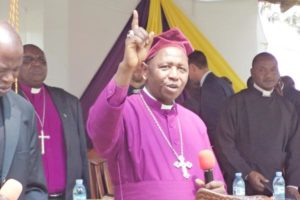 Archbishop Stanley Ntagali speaks at a past function in West Ankole Diocese. Photo by Zadock Amanyisa